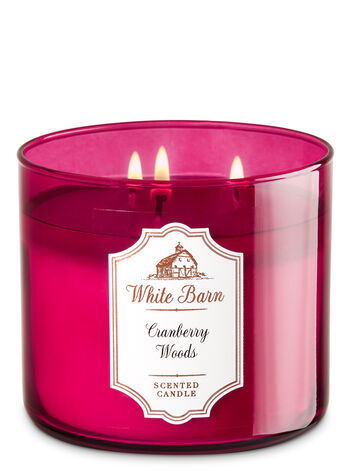 White Barn Cranberry Woods 3-Wick Candle - Bath And Body Works