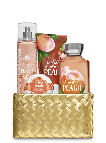 Pretty as a Peach Gold Woven Basket Gift Kit - Bath And Body Works