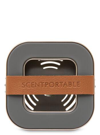 Banded Leather Beveled Square Vent Scentportable Holder
