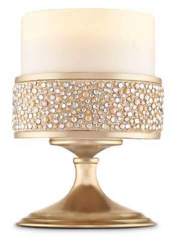 Short Champagne Pearl Gem Pedestal 3-Wick Candle Sleeve