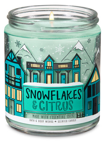 Snowflakes & Citrus Single Wick Candle - Bath And Body Works