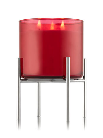 Shiny Nickel Pedestal 3-Wick Candle Sleeve