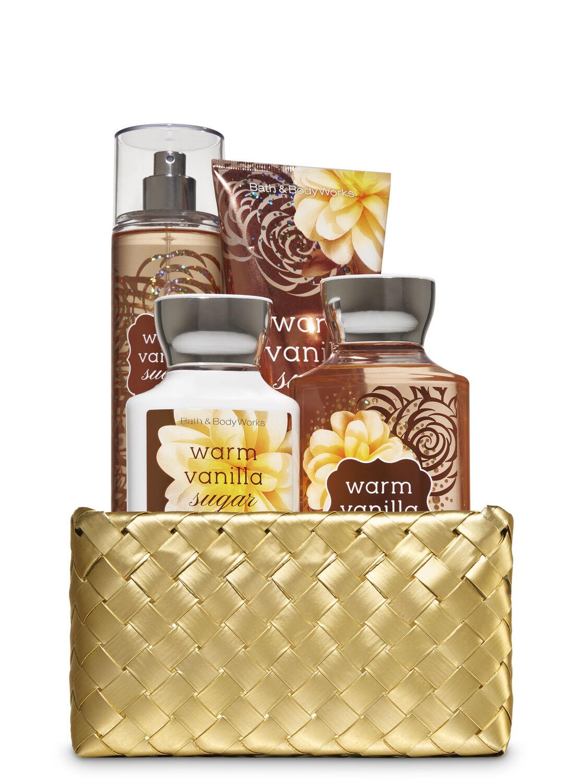 Warm Vanilla Sugar Gold Woven Basket Gift Kit Bath Body Works Aromatherapy Lavender Scrub