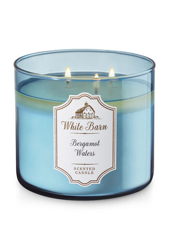 bergamot waters 3 wick candle white barn bath body works. Black Bedroom Furniture Sets. Home Design Ideas