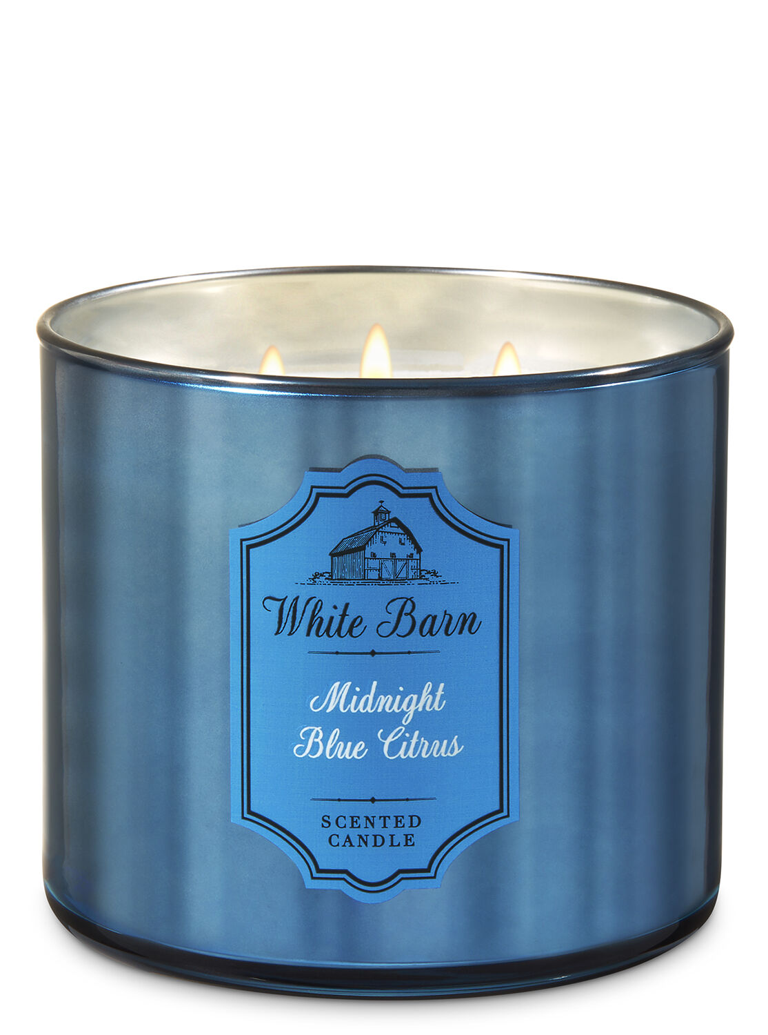 Bergamot Waters 3-Wick Candle - White Barn | Bath  for Blue Candle White Background  55dqh