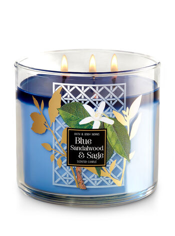 Blue Sandalwood & Sage 3-Wick Candle - Bath And Body Works