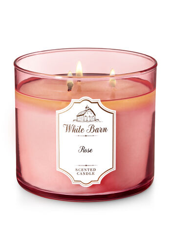 White Barn Rose 3-Wick Candle - Bath And Body Works