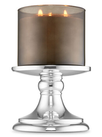 Mirrored Silver Pedestal 3-Wick Candle Holder - Bath And Body Works