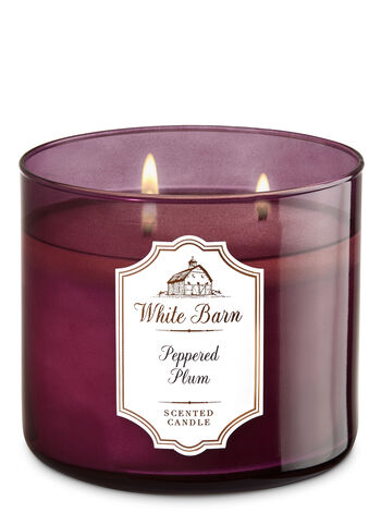 White Barn Peppered Plum 3-Wick Candle - Bath And Body Works