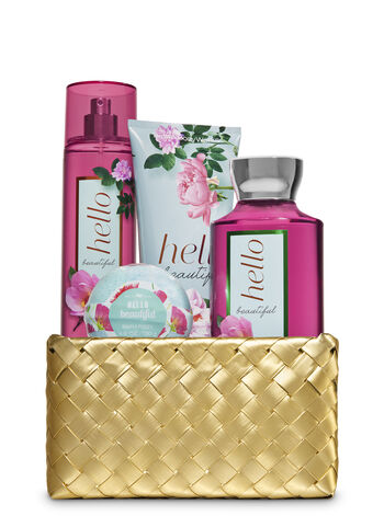 Hello Beautiful Gold Woven Gift Basket Kit - Bath And Body Works
