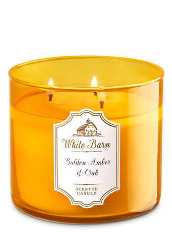 White Barn Golden Amber & Oak 3-Wick Candle - Bath And Body Works