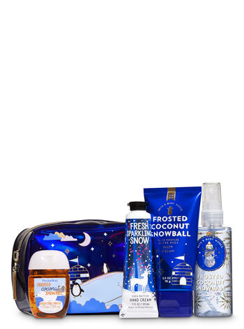 Frosted Coconut Snowball Holiday Mini Cosmetic Bag Gift Set