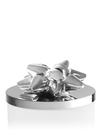 Silver Christmas Bow 3-Wick Candle Magnet