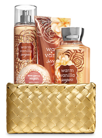 Warm Vanilla Sugar Gold Woven Basket Gift Kit - Bath And Body Works