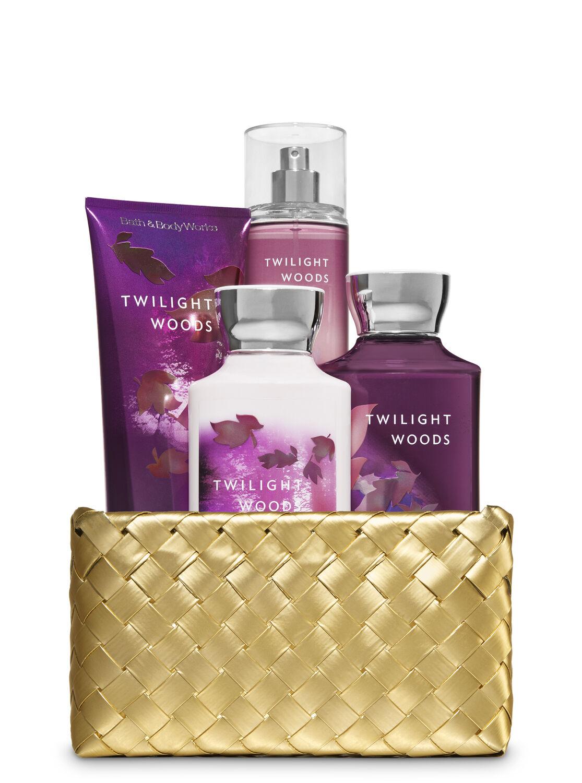 Twilight Woods Gold Woven Basket Gift Kit Bath Body Works Spray For Men