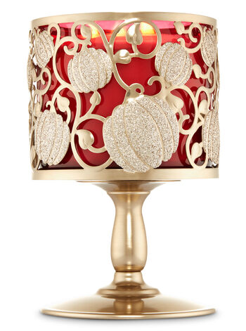 Shimmering Pumpkin Pedestal 3-Wick Candle Sleeve