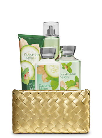 Cucumber Melon Gold Woven Basket Gift Kit - Bath And Body Works