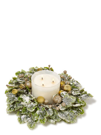 Metallic Christmas Frosted Ivy 3-Wick Candle Ring - Bath And Body Works