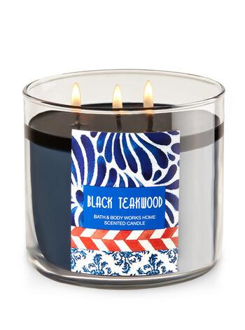Black Teakwood 3-Wick Candle - Bath And Body Works