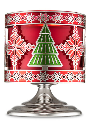 Evergreen Fair Isle Pedestal 3-Wick Candle Holder - Bath And Body Works