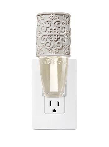 Gray Embossed Scroll Wallflowers Fragrance Plug