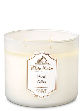 White Barn Fresh Cotton 3-Wick Candle - Bath And Body Works