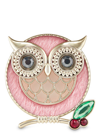 Pink Winter Owl Visor Clip Scentportable Holder