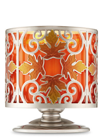Fall Leaf Scroll Pedestal 3-Wick Candle Holder - Bath And Body Works