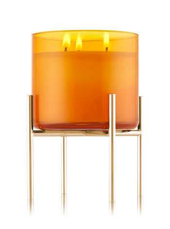 Shiny Champagne Pedestal 3-Wick Candle Holder