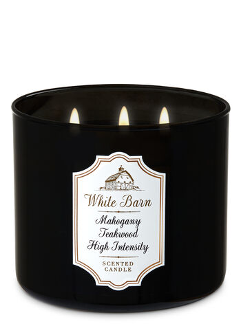 White Barn Mahogany Teakwood High Intensity 3-Wick Candle - Bath And Body Works