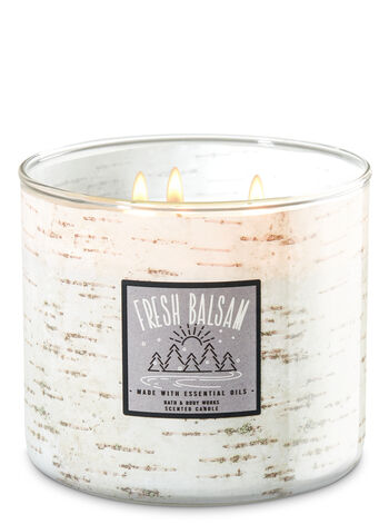 White Barn Fresh Balsam 3-Wick Candles - Bath And Body Works