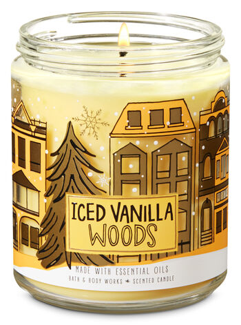 Iced Vanilla Woods Single Wick Candle - Bath And Body Works