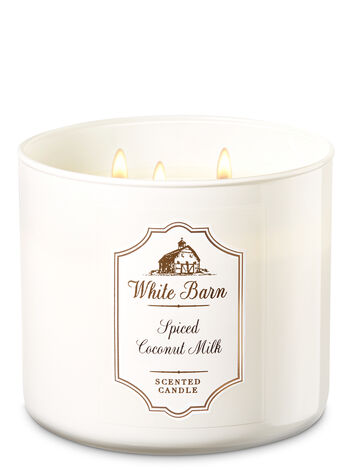 White Barn Spiced Coconut Milk 3-Wick Candle - Bath And Body Works