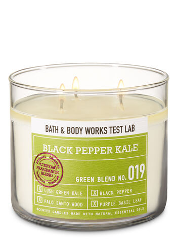 Bath & Body Works Test Lab Blend No. 019 Black Pepper Kale 3-Wick Candle - Bath And Body Works