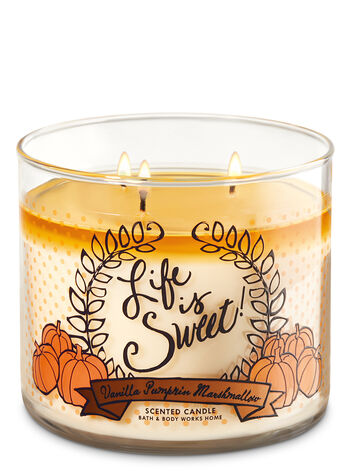 Vanilla Pumpkin Marshmallow 3-Wick Candle - Bath And Body Works