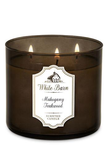 White Barn Mahogany Teakwood 3-Wick Candle - Bath And Body Works