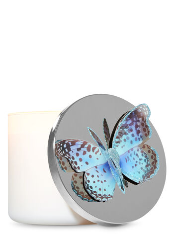 Glittering Blue Butterfly 3-Wick Candle Magnet - Bath And Body Works