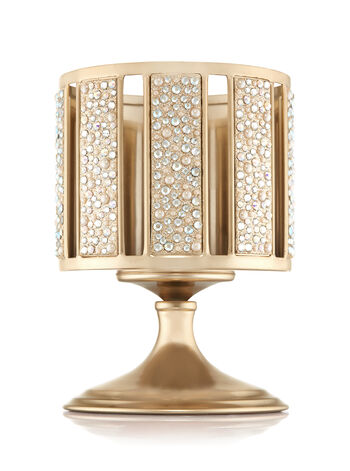 Champagne Pearl Gem Pedestal 3-Wick Candle Holder