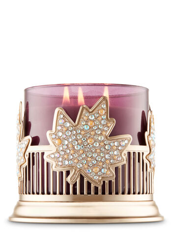 Pinstripes & Leaves 3-Wick Candle Sleeve