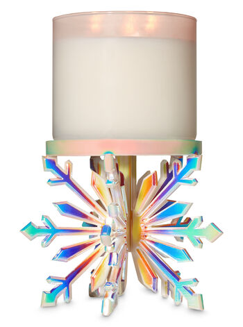 Iridescent Snowflake Pedestal 3-Wick Candle Holder - Bath And Body Works