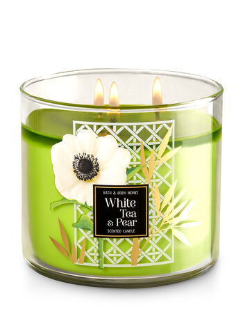 White Tea & Pear 3-Wick Candle - Bath And Body Works