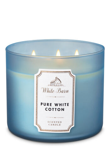 White Barn Pure White Cotton 3-Wick Candle - Bath And Body Works