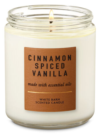 Cinnamon Spiced Vanilla Single Wick Candle - Bath And Body Works