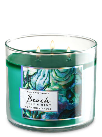 Beach Sage & Mint 3-Wick Candle - Bath And Body Works