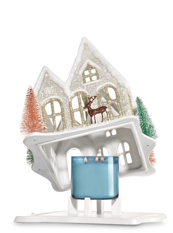 Holiday House Glitter Cottage 3-Wick Candle Holder