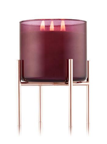 Rose Gold Pedestal 3-Wick Candle Holder