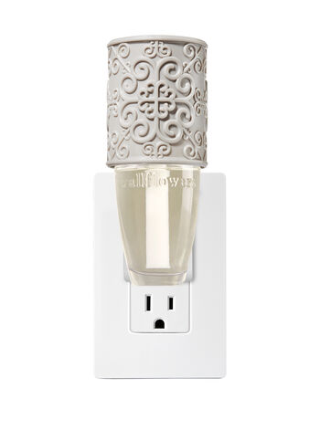 Gray Embossed Scroll Wallflowers Fragrance Plug