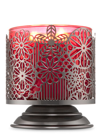 Floral Stripe Pedestal 3-Wick Candle Holder - Bath And Body Works
