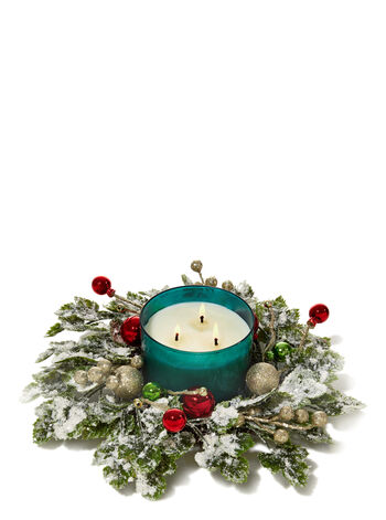 Traditional Christmas Frosted Ivy 3-Wick Candle Ring - Bath And Body Works