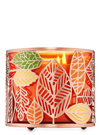 Tossed Fall Leaves 3-Wick Candle Holder - Bath And Body Works